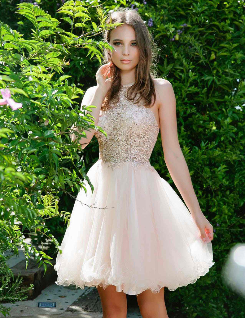 Nox Anabel E696 Short Champagne Party Dress Poofy A-Line