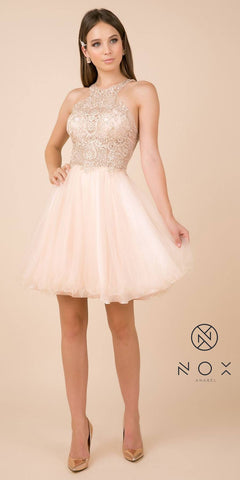 Champagne Cut-Out Back Homecoming Short Dress