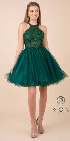 Green Cut-Out Back Homecoming Short Dress