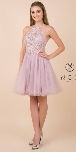 Mauve Cut-Out Back Homecoming Short Dress
