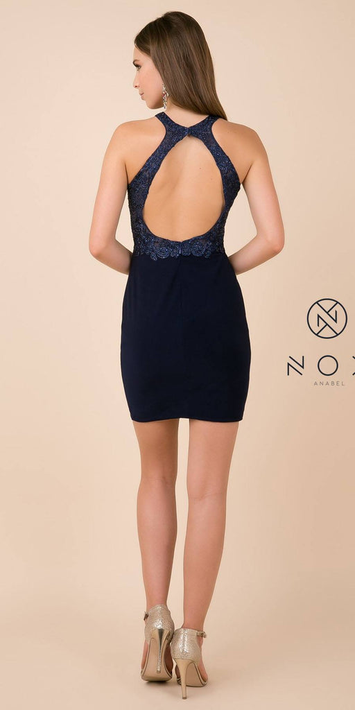 Halter Homecoming Short Dress Navy Blue with Cut-Out Back