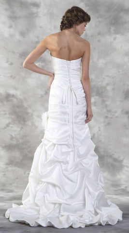 Ivory Mermaid Style Strapless Wedding Gown Lace-Up Back