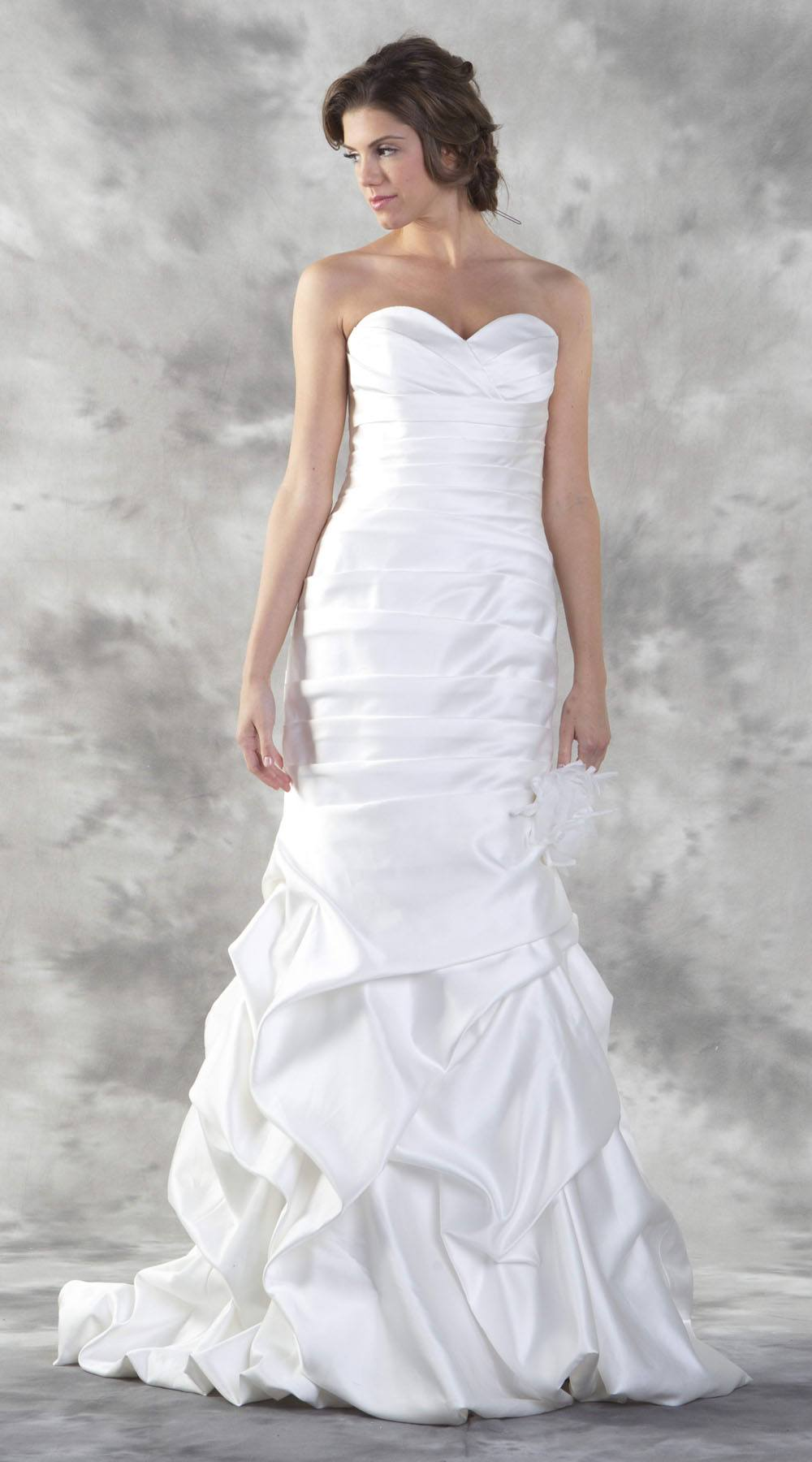Poly Usa Ed1302 Ivory Mermaid Style Strapless Wedding Gown Lace Up