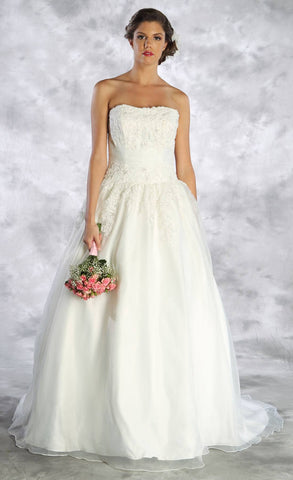 Appliqued Strapless Wedding Ball Gown Ivory