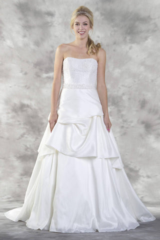 Pearl Embellished Bodice Strapless Wedding Gown Ivory