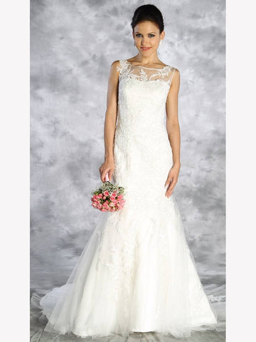 Ivory Sleeveless Trumpet Style Wedding Gown with Appliques