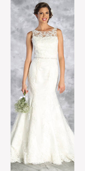 Sleeveless Appliqued Wedding Gown with Court Train Ivory