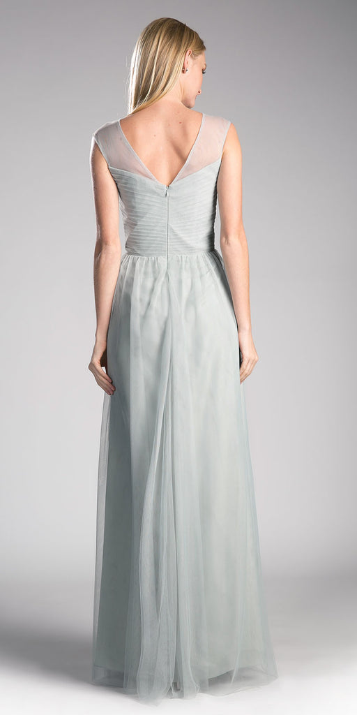 Silver Illusion V-Neck and Back Long Formal Dress Sleeveless