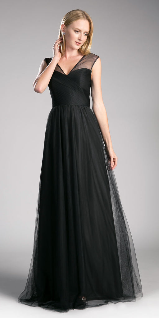 Black Illusion V-Neck and Back Long Formal Dress Sleeveless