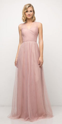 Cinderella Divine ET320 Blush Illusion V-Neck and Back Long Formal Dress Sleeveless