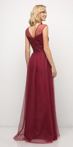 Burgundy Illusion V-Neck and Back Long Formal Dress Sleeveless Back View