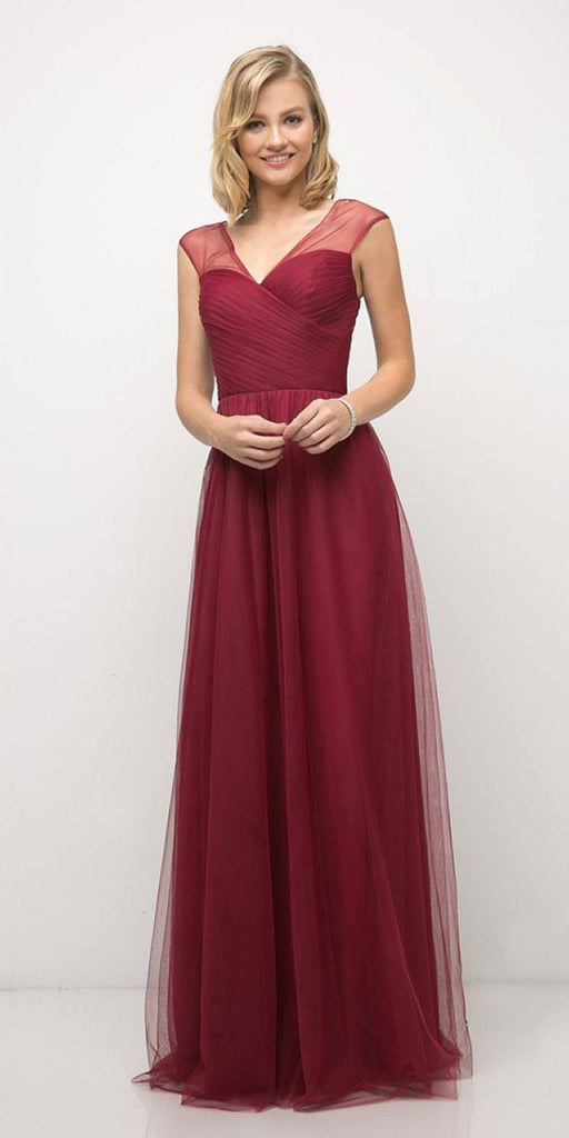 Burgundy Illusion V-Neck and Back Long Formal Dress Sleeveless