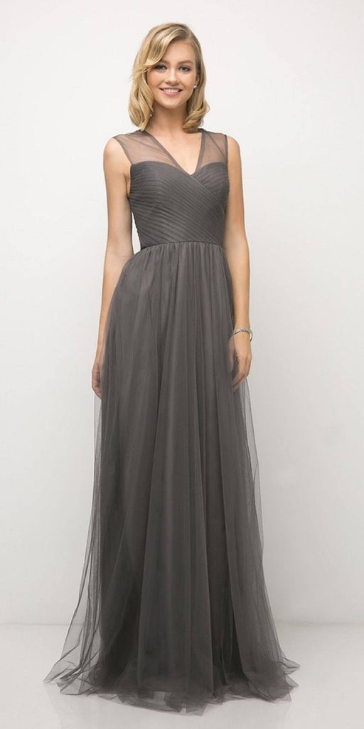 Cinderella Divine ET320 Charcoal Illusion V-Neck and Back Long Formal Dress Sleeveless