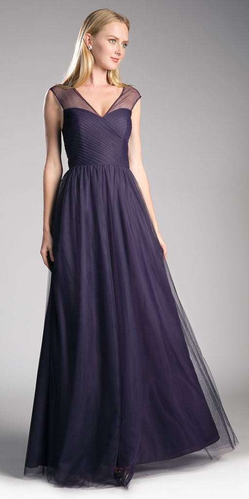 Dark Plum Illusion V-Neck and Back Long Formal Dress Sleeveless