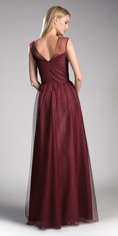 Cinderella Divine ET320 Deep Red Illusion V-Neck and Back Long Formal Dress Sleeveless Back View