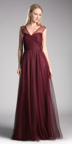 Dusty Rose Illusion Appliqued Long Formal Dress Mid-Sleeve