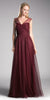 Cinderella Divine ET320 Deep Red Illusion V-Neck and Back Long Formal Dress Sleeveless