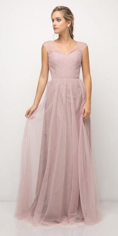Cinderella Divine ET320 Dusty Rose Illusion V-Neck and Back Long Formal Dress Sleeveless