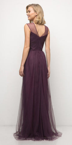 Cinderella Divine ET320 Eggplant Illusion V-Neck and Back Long Formal Dress Sleeveless Back View