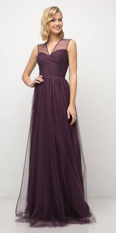 Cinderella Divine ET320 Eggplant Illusion V-Neck and Back Long Formal Dress Sleeveless