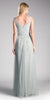 Cinderella Divine ET320 Eucalyptus Illusion V-Neck and Back Long Formal Dress Sleeveless Back View