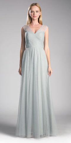 Cinderella Divine ET320 Eucalyptus Illusion V-Neck and Back Long Formal Dress Sleeveless