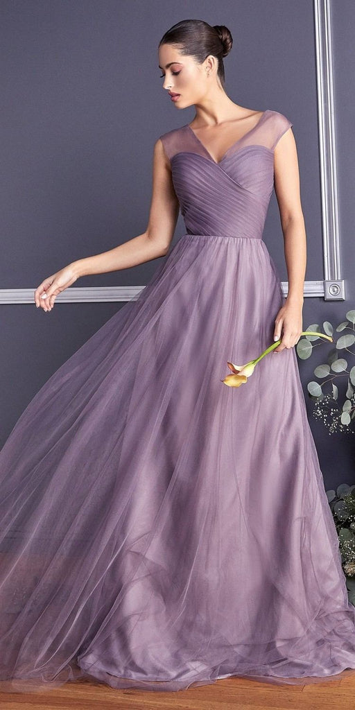 Cinderella Divine ET320 French Lilac Illusion V-Neck and Back Long Formal Dress Sleeveless