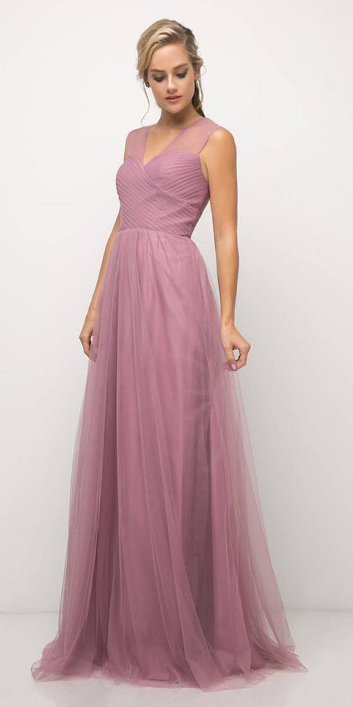 Cinderella Divine ET320 Mauve Illusion V-Neck and Back Long Formal Dress Sleeveless