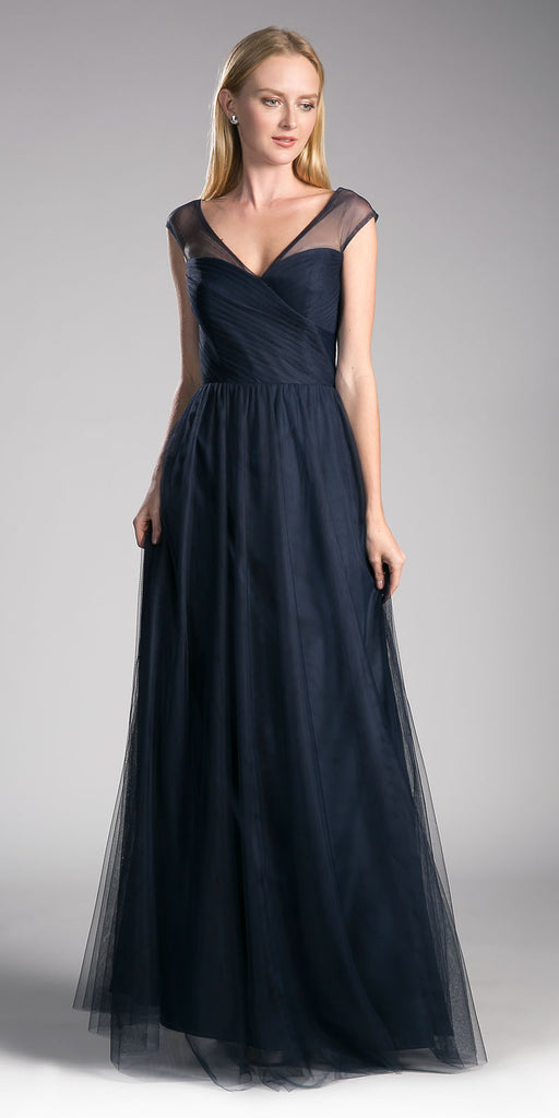 Navy Blue Illusion V-Neck and Back Long Formal Dress Sleeveless