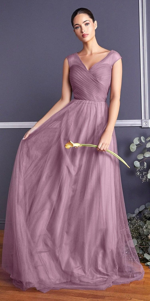 Cinderella Divine ET320 Orchid Illusion V-Neck and Back Long Formal Dress Sleeveless