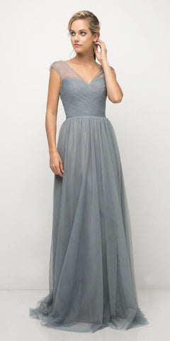 Cinderella Divine ET320 Paris Blue Illusion V-Neck and Back Long Formal Dress Sleeveless