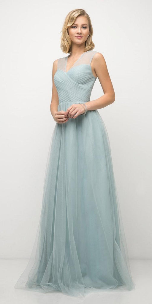 Cinderella Divine ET320 Robin Blue Illusion V-Neck and Back Long Formal Dress Sleeveless