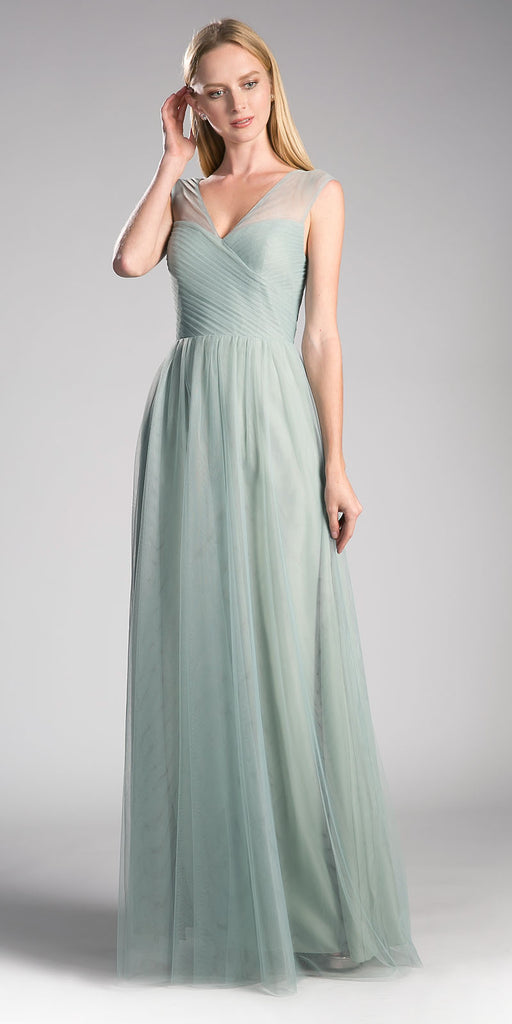 Sage Green Illusion V-Neck and Back Long Formal Dress Sleeveless