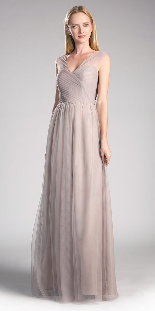 Sand Illusion V-Neck and Back Long Formal Dress Sleeveless