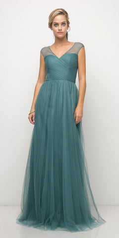 Paris Blue Illusion V-Neck and Back Long Formal Dress Sleeveless