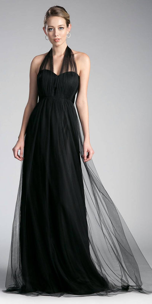 Cinderella Divine ET322 Tulle Infinity Style Long Bridesmaid Dress Black