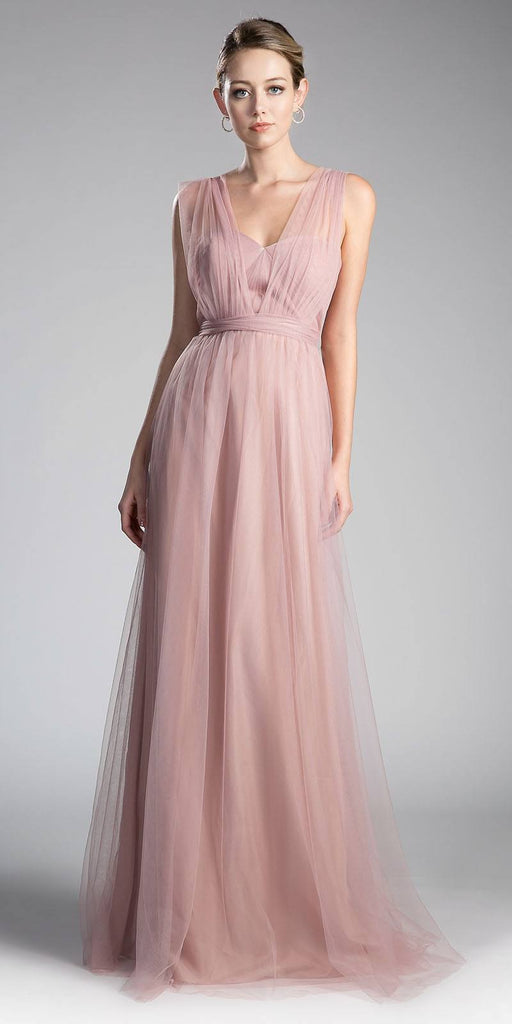 Cinderella Divine ET322 Tulle Infinity Style Long Bridesmaid Dress Blush