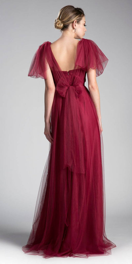 Cinderella Divine ET322 Tulle Infinity Style Long Bridesmaid Dress Deep Red