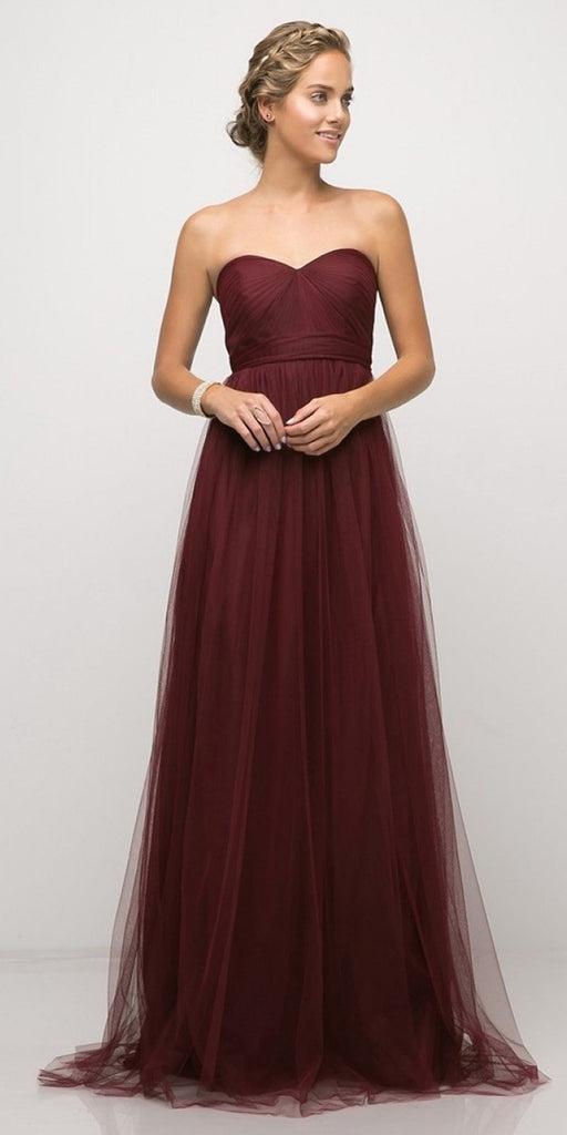 Cinderella Divine ET322 Tulle Infinity Style Long Bridesmaid Dress Burgundy