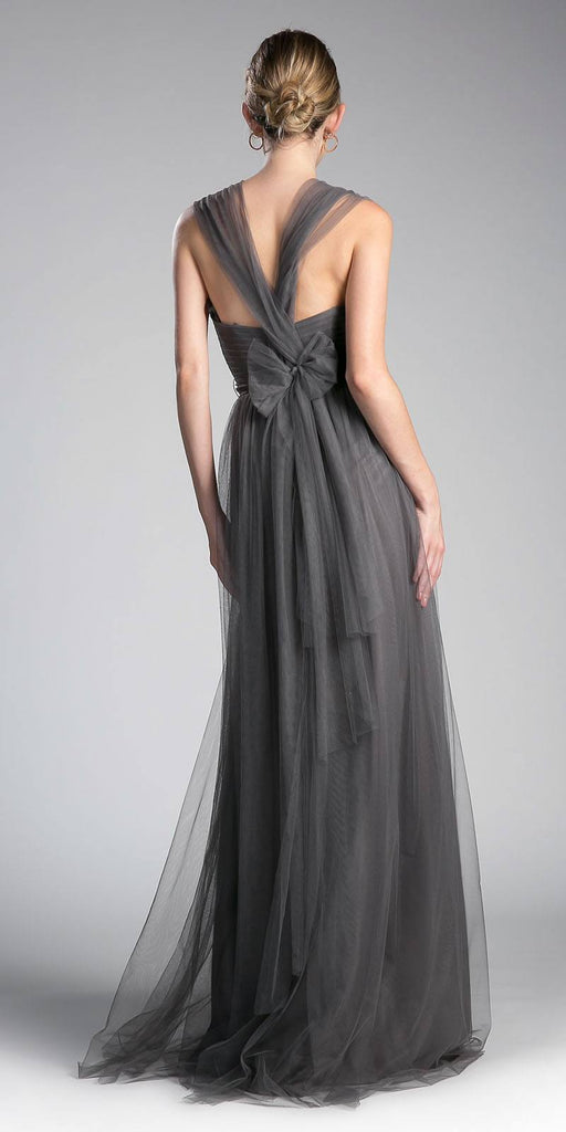 Cinderella Divine ET322 Tulle Infinity Style Long Bridesmaid Dress Charcoal