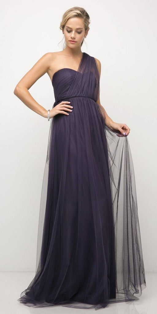 Cinderella Divine ET322 Tulle Infinity Style Long Bridesmaid Dress Dark Plum