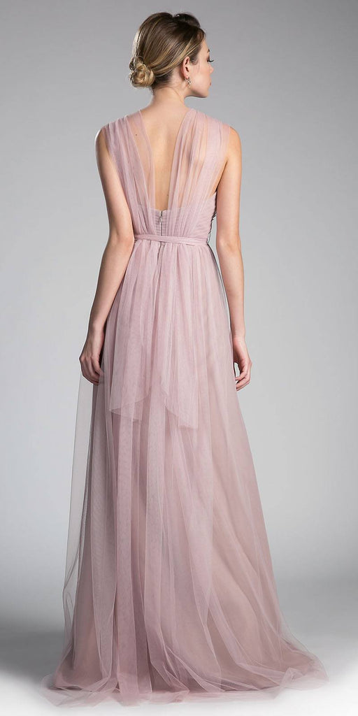 Cinderella Divine ET322 Tulle Infinity Style Long Bridesmaid Dress Dusty Rose