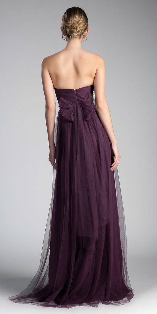 Cinderella Divine ET322 Tulle Infinity Style Long Bridesmaid Dress Eggplant