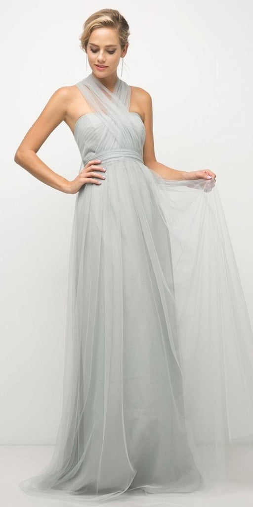 Cinderella Divine ET322 Tulle Infinity Style Long Bridesmaid Dress Eucalyptus