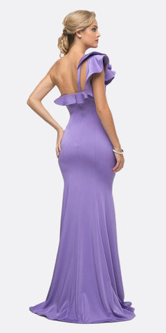 Cinderella Divine ET325 Long Sheath Dress Orchid One Shoulder Ruffled