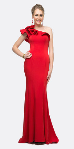 Cinderella Divine ET325 Long Sheath Dress Red One Shoulder Ruffled