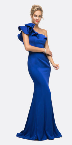 Cinderella Divine ET325 Long Sheath Dress Royal Blue One Shoulder Ruffled