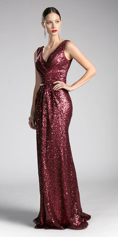 Burgundy Sequins A-Line Long Formal Dress V-Neck and Back