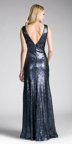 Navy Blue Sequins A-Line Long Formal Dress V-Neck and Back