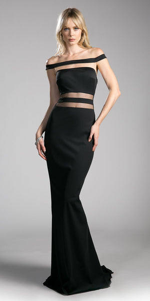 Black Off-the-Shoulder Long Prom Dress with Sheer Cut Outs